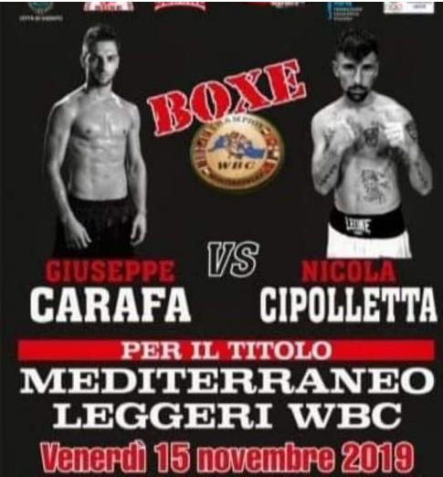 Boxe - Venerdì a Ugento sfida tra i leggeri Carafa e Cipolletta per il Mediterraneo WBC