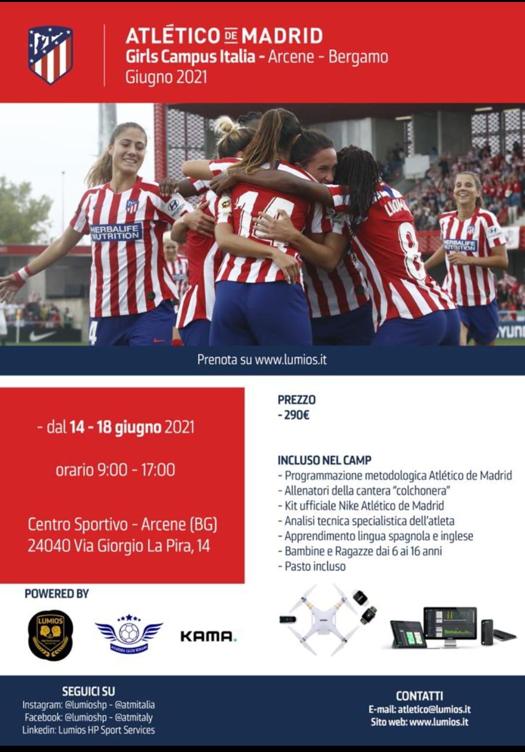L'Accademia Calcio Bergamo e il Girls Campus con l'Atletico Madrid: i dettagli
